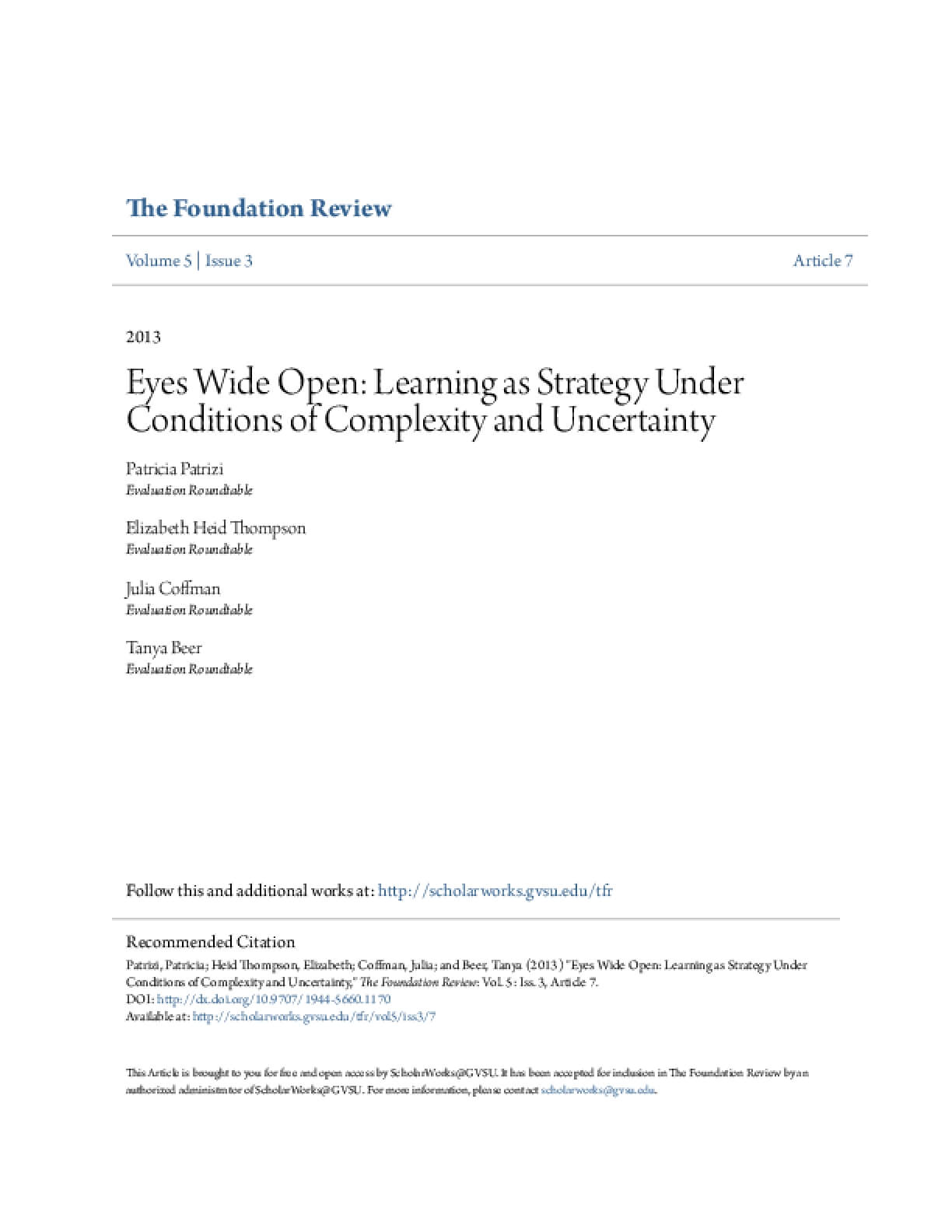 Eyes Wide Open: Learning as Strategy Under Conditions of Complexity and Uncertainty