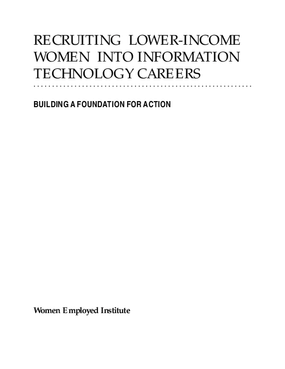 Recruiting Lower-Income Women into Information Technology Careers: Building a Foundation for Action